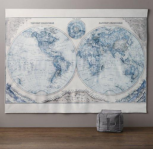 Hemisphere grand canvas blue and ivory wall tapestry gumiabroncs Gallery