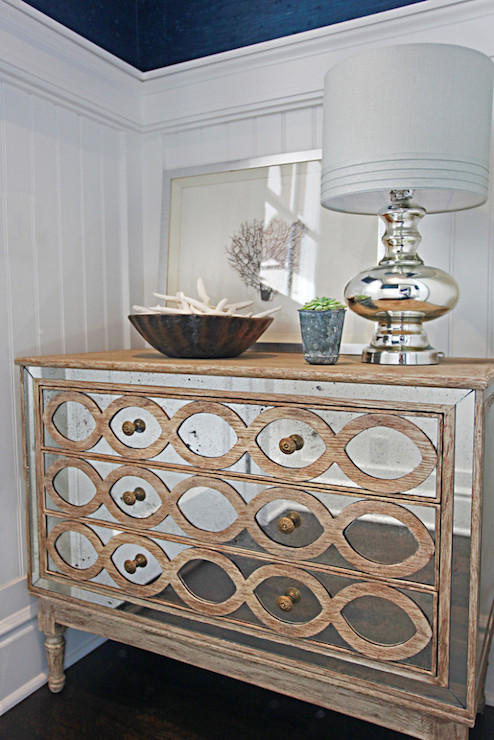 Distressed Vintage White Mirrored Accent Chest