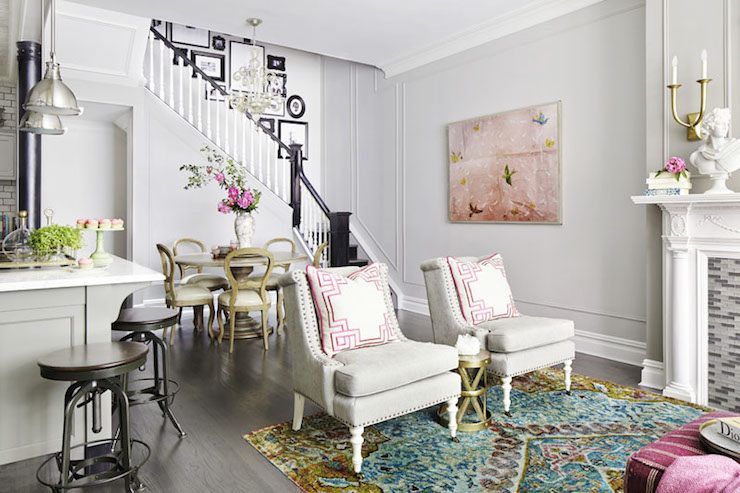 Pillows With Greek Key Trim Contemporary Living Room
