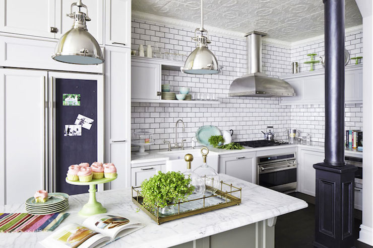 Perfect Stunning Kitchen Features Tin Ceiling Painted White Accented With Yoke  Pendants With Small Shades In Polished Nickel Illuminating Light Gray  Center Island ...