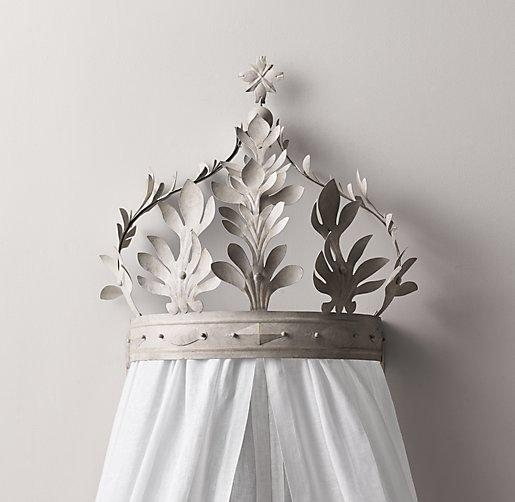 Heirloom White Demilune Metal Canopy Bed Crown - Gilt Gold Canopy Bed Crown