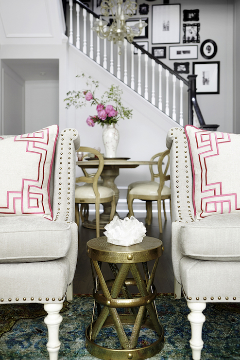 Pink Greek Key Pillows