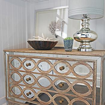 Ogee French Country Distressed Antique Mirror Dresser Chest, Cottage, entrance/foyer, Brooke Wagner Design