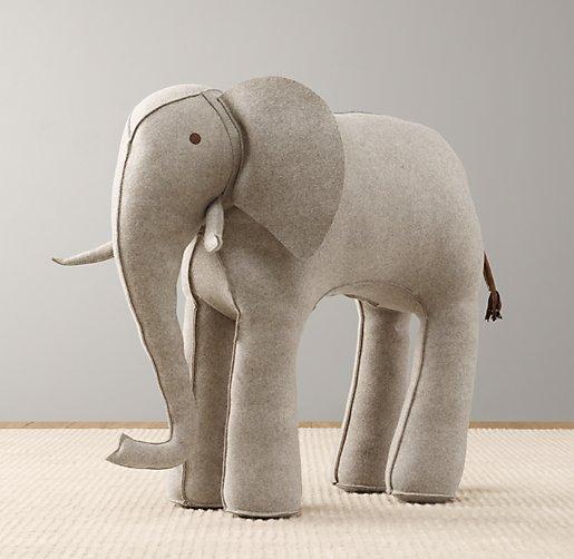 Oversized Grey Wool Felt Elephant