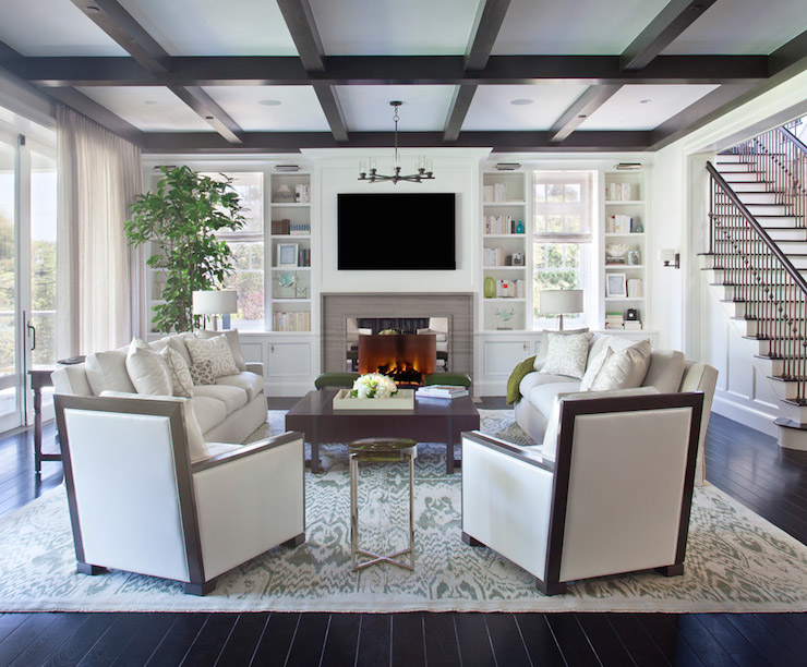 Dark Brown Coffered Ceiling Transitional Living Room
