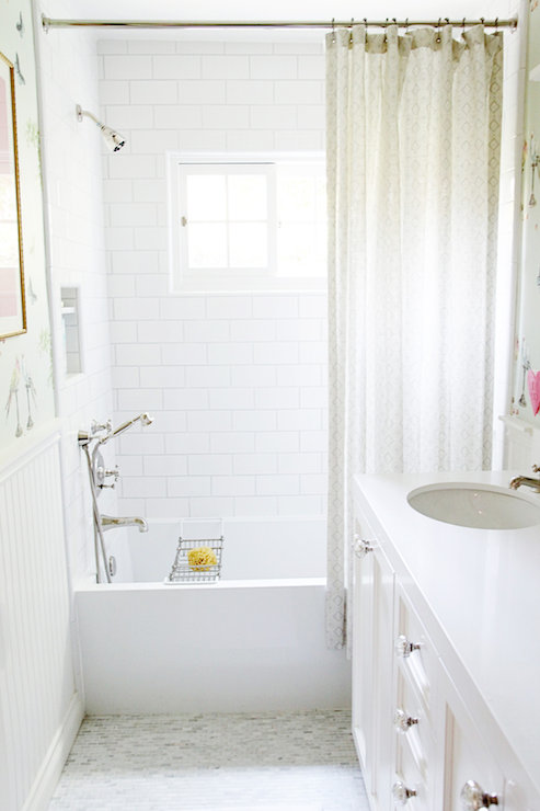 Long White And Beige Bathroom With White Bombay Washstand