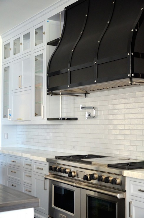 Black Chimney Style Range Hoods ~ Black range hood transitional kitchen rt abbott