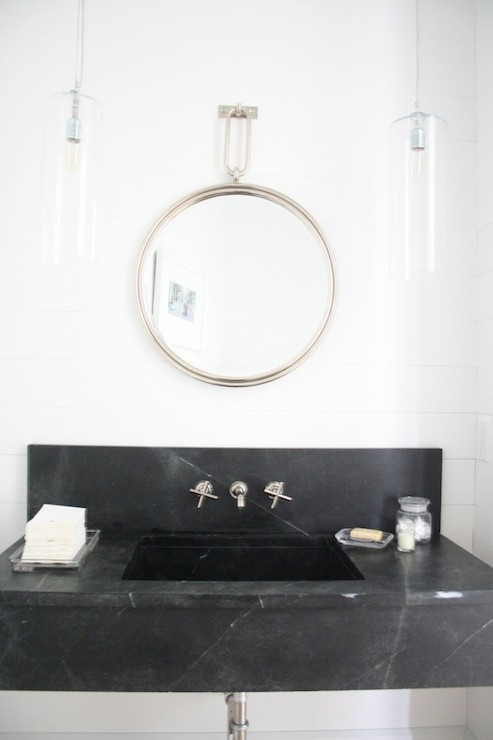 Black Marble Vanity Mirror Design Ideas