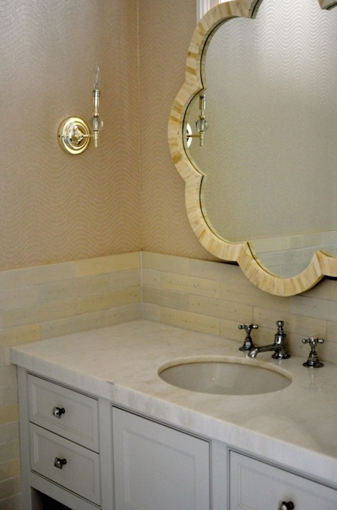 Tiled wall mirror