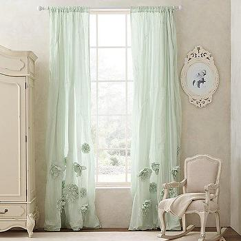 Washed Appliqued Fleur Drapery Panel I RH Baby and Child