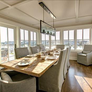 Plank Dining Table, Transitional, dining room, Benjamin Moore Rock Harbor Violet, Asher Associates Architects