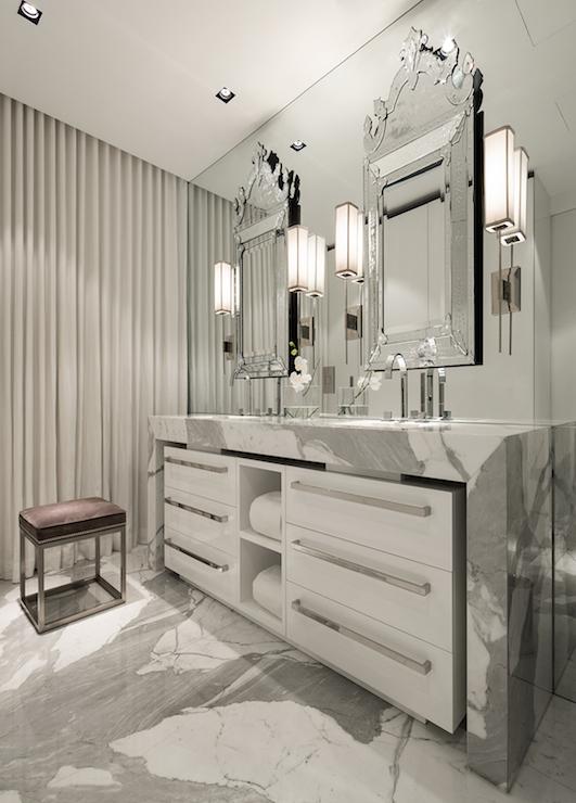Waterfall Edge Bathroom Vanity Design Ideas