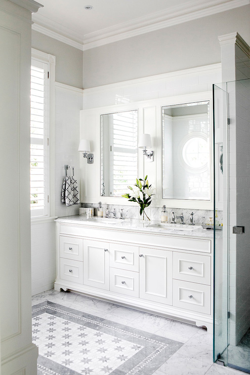 Luxury White Vanity Bathroom On Pinterest  White Bathroom Cabinets Bathroom