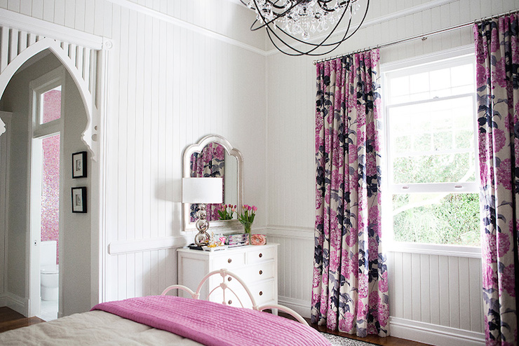 Pink And Gray Curtains Transitional Girl S Room