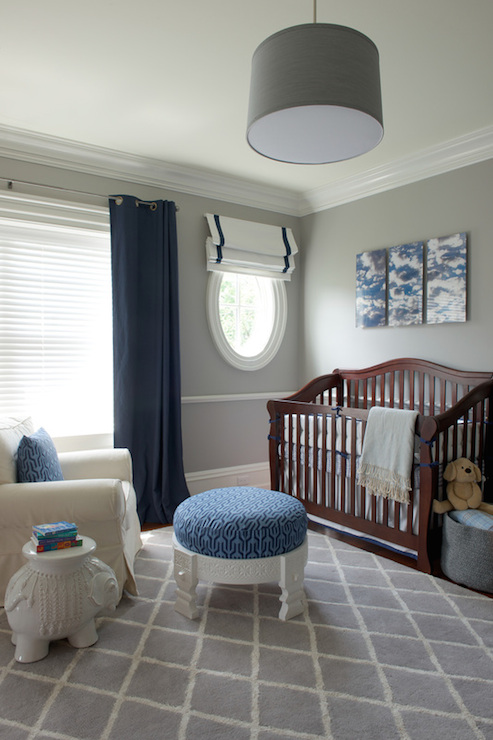 Gray And Blue Nursery Transitional Nursery