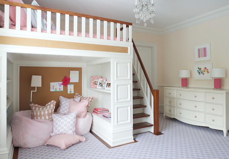 kids loft bed - transitional - girl's room - nightingale design Beds for Children's Rooms