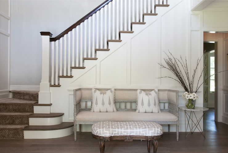 Foyer Stairs Ideas : Foyer settee transitional entrance nightingale