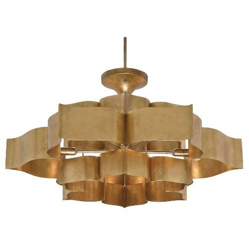 Currey and company grand lotus 6 light gold pendant aloadofball Image collections