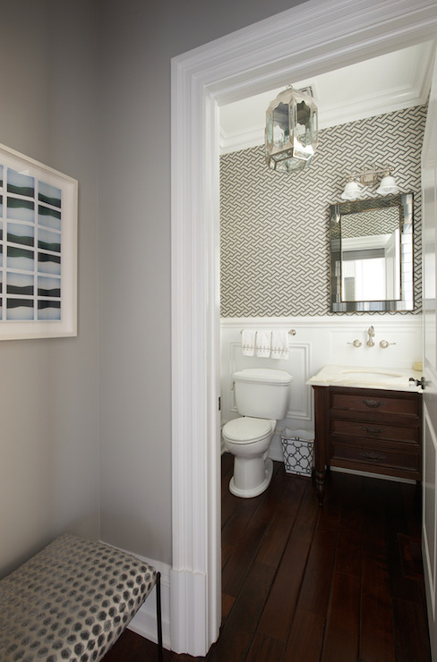 Gray Powder Room Design Contemporary Bathroom