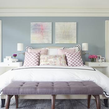 Purple Linen Bench, Contemporary, bedroom, Nightingale Design