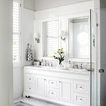 Gray Mosaic Floor Tiles, Transitional, bathroom, Highgate House