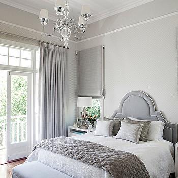 Gray Velvet Headboard Transitional Bedroom Ashley