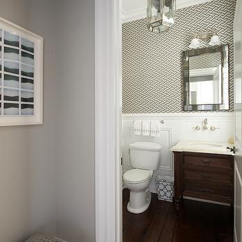 Wallpaper for Powder Rooms, Transitional, bathroom, Nightingale Design
