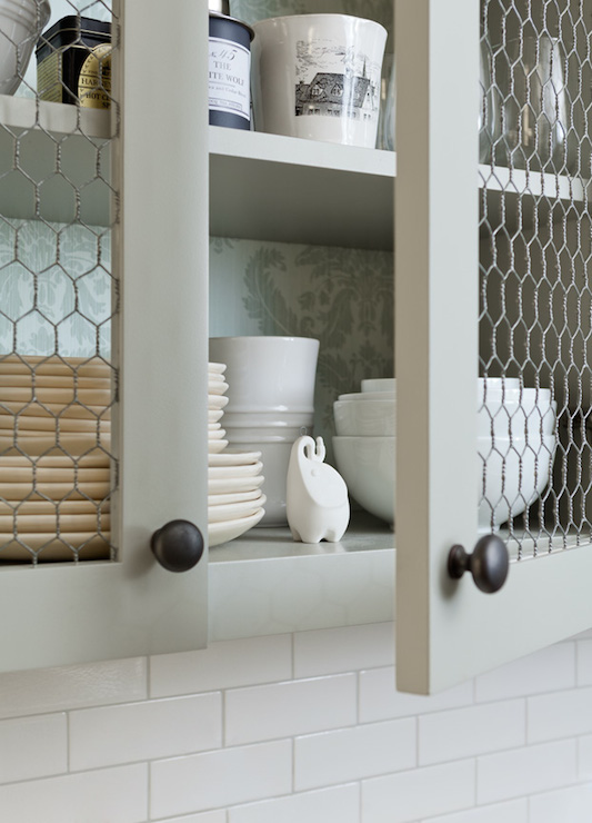 Chicken Wire Cabinet Doors - Country - kitchen - Jenny Wolf Interiors