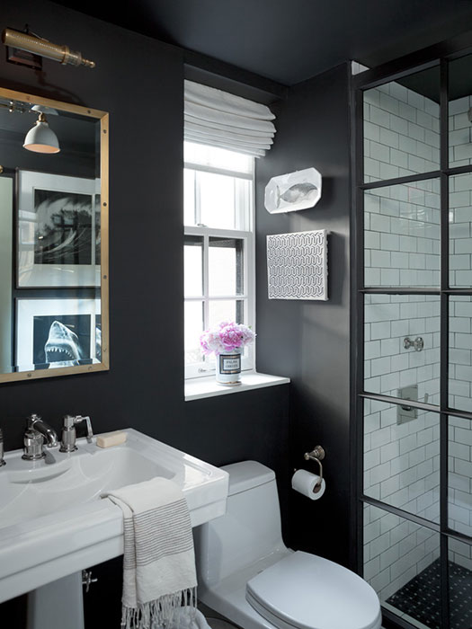 Bathroom with subway tiles contemporary bathroom for Black and white subway tile bathroom ideas