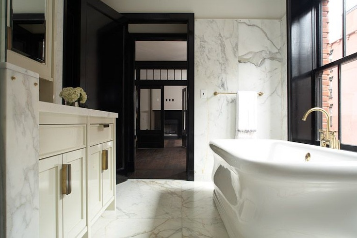 Black Trim Molding Transitional Bathroom Roman And