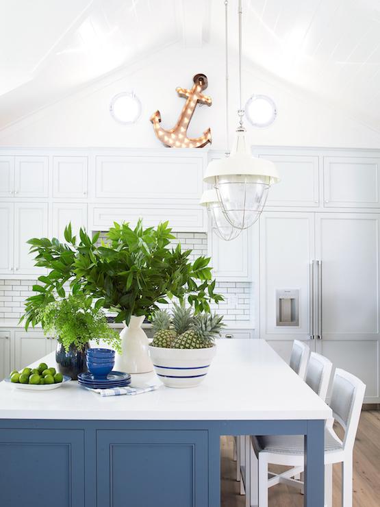 Blue Kitchen Island Cottage Kitchen Pratt And