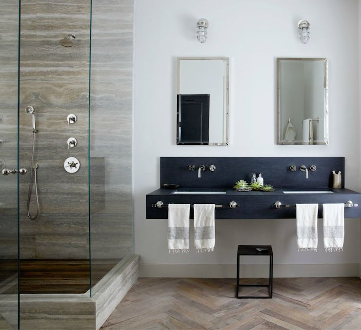 Black Floating Vanity Transitional Bathroom Jenny Wolf Interiors