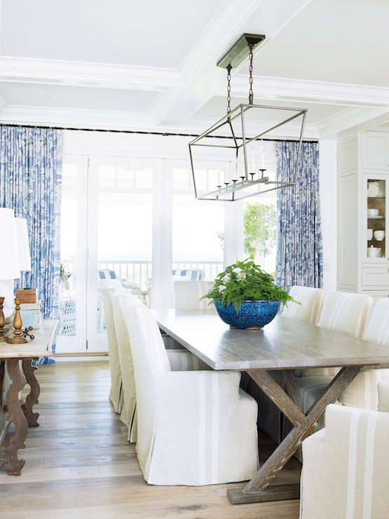 Burnham Design   Coastal Dining Room Features Coffered Ceiling Accented  With Darlana Linear Pendant Illuminating An X Based Dining Table Lined With  ...
