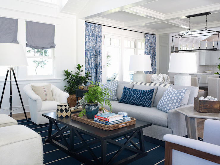 White And Blue Coastal Living Room Design Ideas