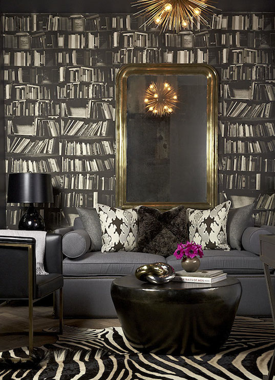 Genuine Fake Bookshelf Wallpaper - Eclectic - den/library/office ...