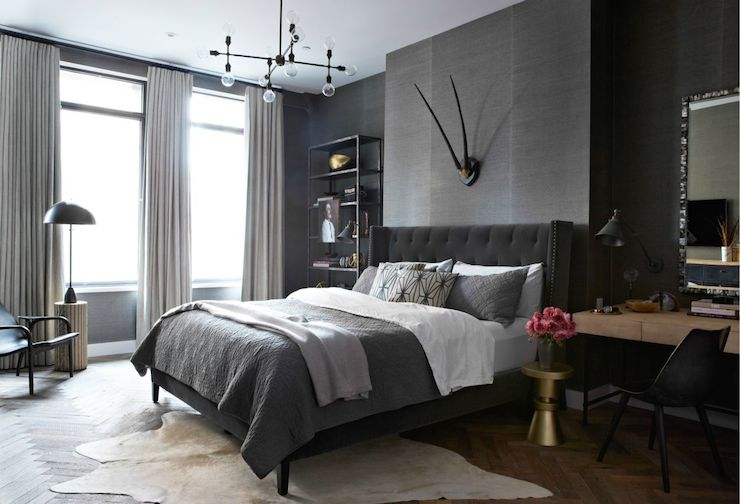 View Full Size Masculine Bedroom Features Walls Clad In Dark Grey