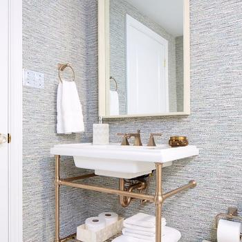 Brass Washstand view full size  Stunning bathroom design with textured wallpaper. Black and White Shower   Eclectic   bathroom   Natalie Clayman