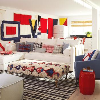 Kilim Bench, Cottage, basement, Pratt and Lambert Designer White, Coastal Living