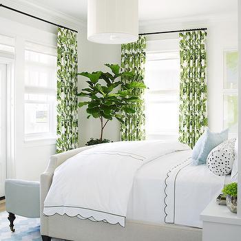 Peter Dunham Fig Leaf Fabric, Cottage, bedroom, Pratt and Lambert Designer White, Coastal Living