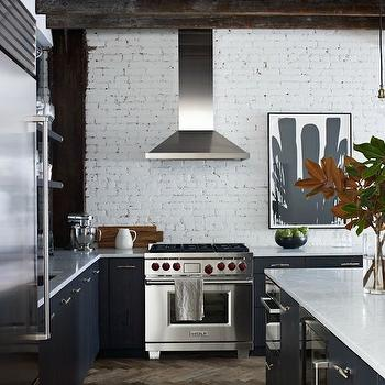 Whitewashed Brick, Transitional, kitchen, Jenny Wolf Interiors