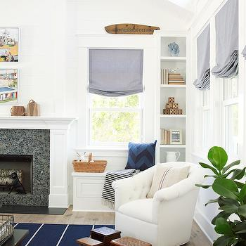 Fireplace Window Seat, Cottage, living room, Pratt and Lambert Designer White, Coastal Living
