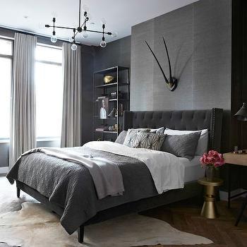 Gray Grasscloth Contemporary Bedroom D2 Interieurs
