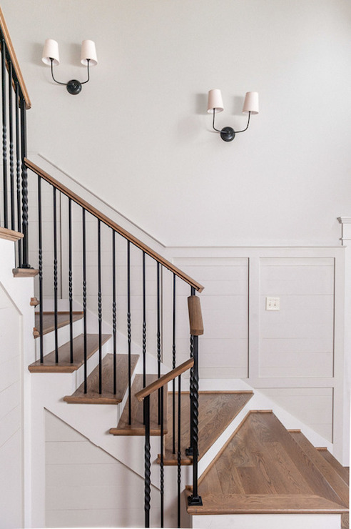 Staircase Sconces Transitional Entrance Foyer
