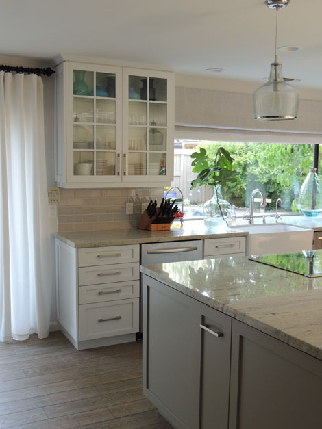 white and gray granite - transitional - kitchen - sherwin williams dorian gray