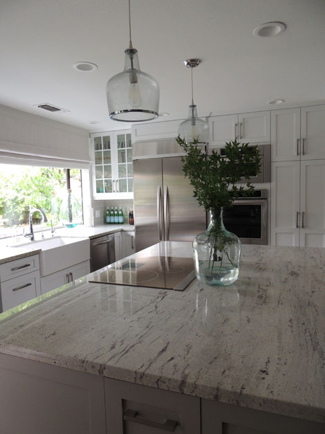 River White Granite Transitional Kitchen Sherwin
