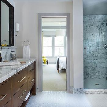 Brown Dual Vanity Sink, Transitional, bathroom, Studio M Interiors