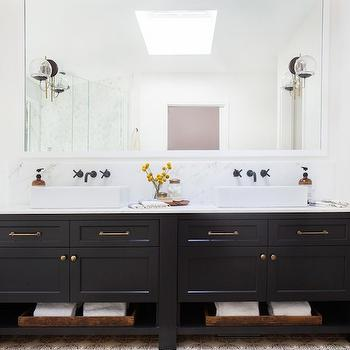 Black Dual Vanity Sink, Eclectic, bathroom, Amber Interiors