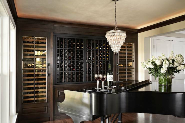 Dining room with wood herringbone wine rack transitional dining room view full size aloadofball Images