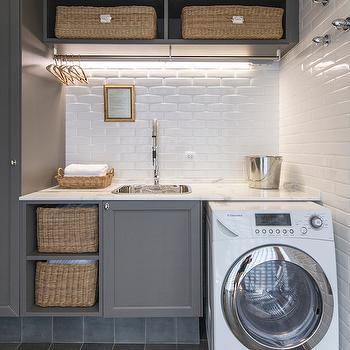 Gray Laundry Rooms, Transitional, laundry room, Casa de Valentina