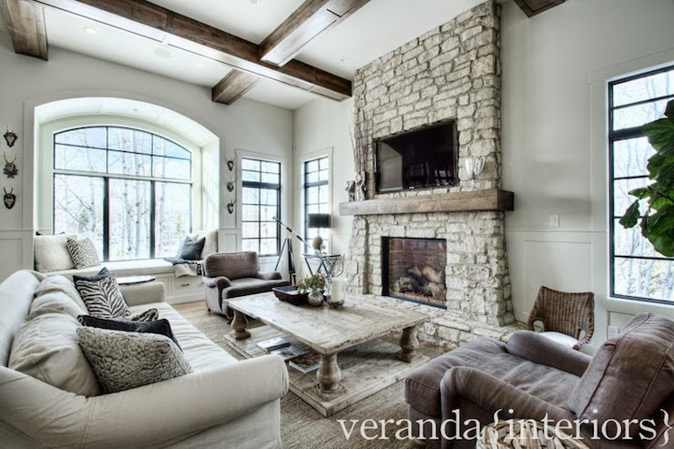 Stacked Stone Fireplace Transitional Living Room